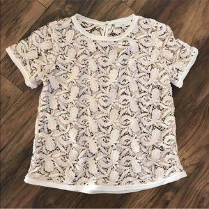 Ann Taylor loft crocheted lace sheer blouse